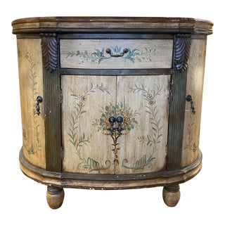 Contemporary Italianate Hand Painted Demilune Credenza For Sale