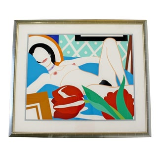 1980s Contemporary Modern Framed Signed Lithograph Monica Nude Tulips Wesselmann For Sale