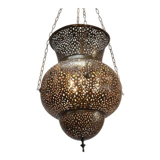 Large Moroccan Brass Pendant For Sale