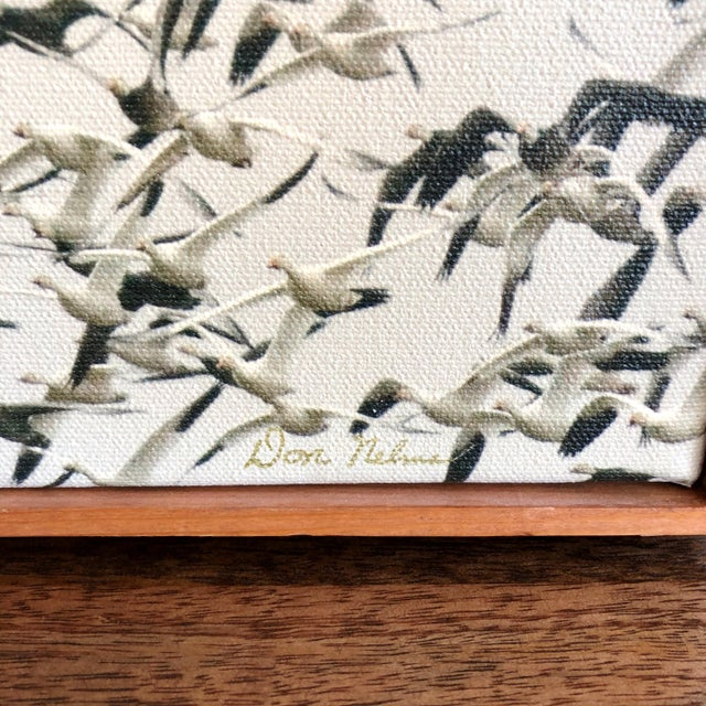 Mid-Century Framed Sepia Photograph of Flying Geese on Canvas For Sale - Image 4 of 6