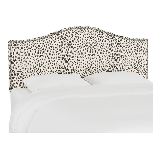 Queen Headboard, Washed Cheetah Cream Grey For Sale