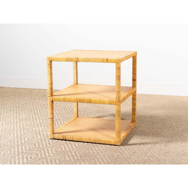 Modern Woven Rattan Side Table For Sale - Image 6 of 6