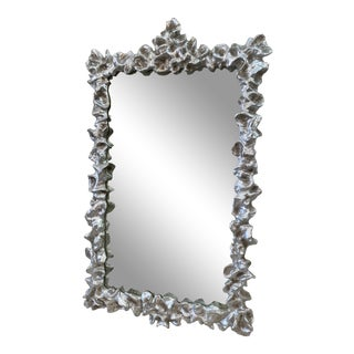 Ruffled Silver Leaf Antiqued Mirror For Sale