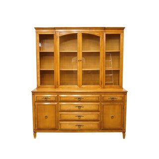 "20th Century British Colonial Maple 64"" Buffet with Display Cabinet For Sale"