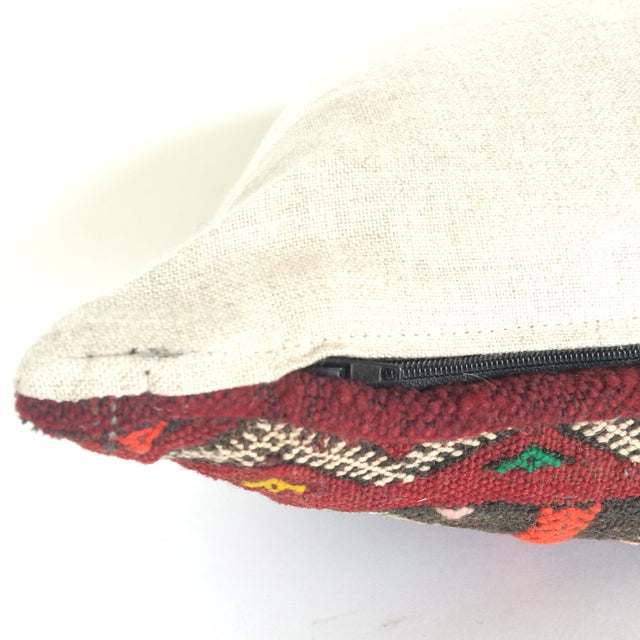 Burgundy Turkish Kilim Pillow - Image 3 of 11
