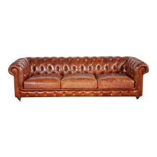 Pasargad Leather Chester Bay Tufted Sofa For Sale
