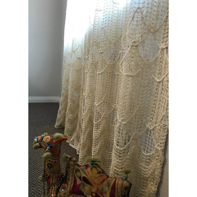 1960s Vintage Bohemian Macrame Curtain Panel For Sale