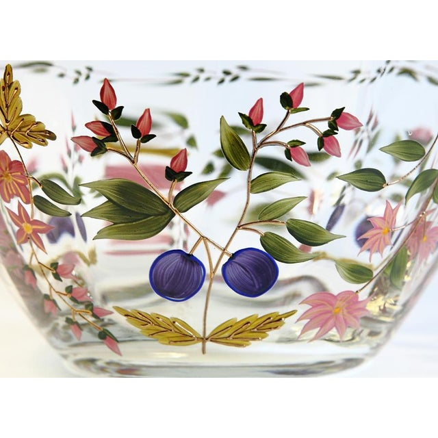 Vintage Hand Painted Glass Bowl - Image 3 of 8