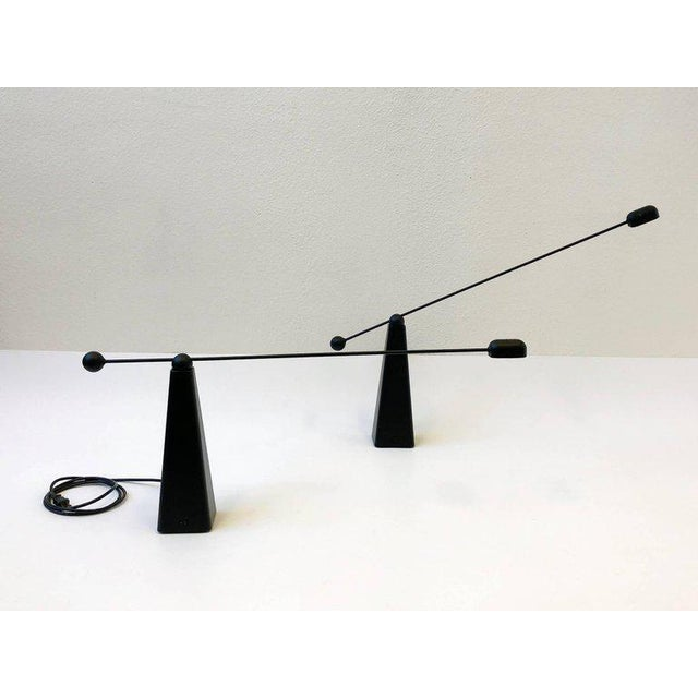 Ron Rezek Pair of Adjustable Black Lacquered Table Lamps by Ron Rezek For Sale - Image 4 of 9