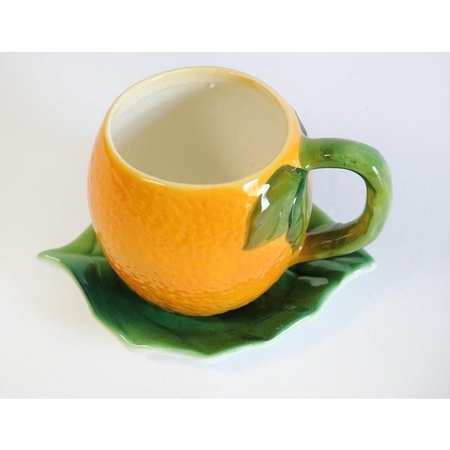 Majolica Orange Cup and Leaf Saucer - Image 4 of 6