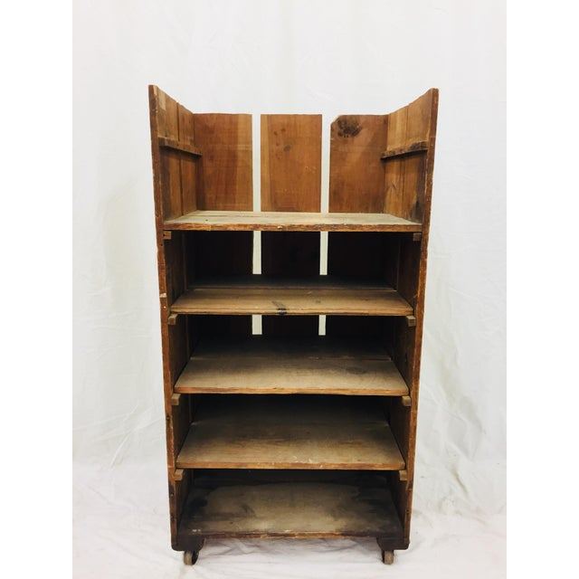 Wonderful Antique Industrial Factory Cart, made of solid wood with original metal wheels. Movable and removable plank...