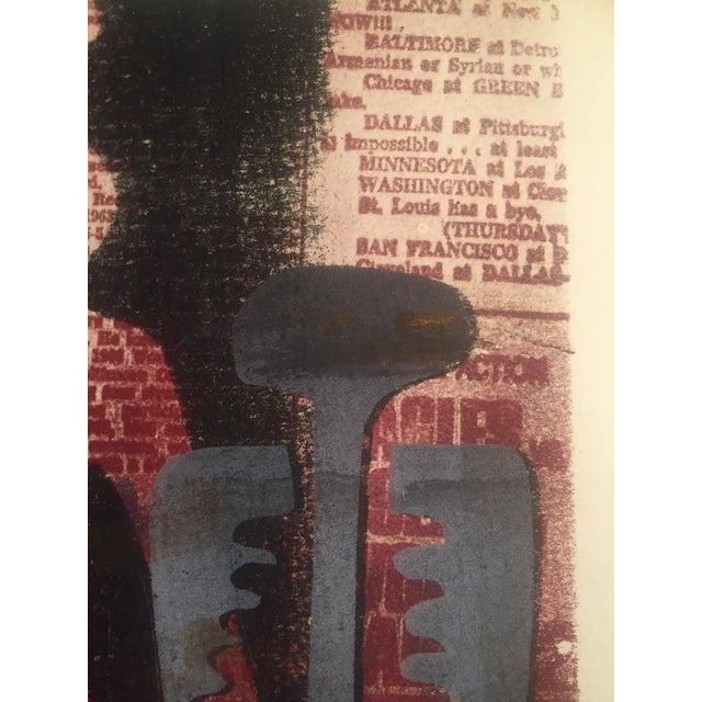 Original Vintage Mid-Century Wood Block Abstract Print - Image 3 of 5