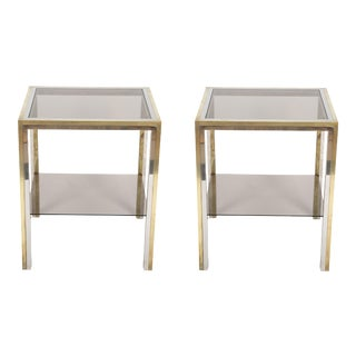 1970s Chrome and Brass Side Tables - a Pair For Sale