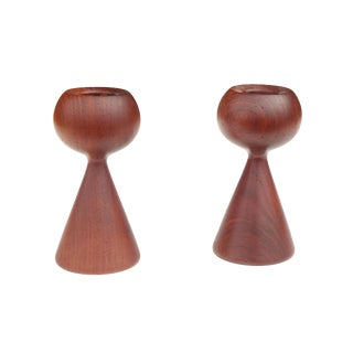 Pair of Turned Solid Teak Candlesticks After Rude Osolnik For Sale