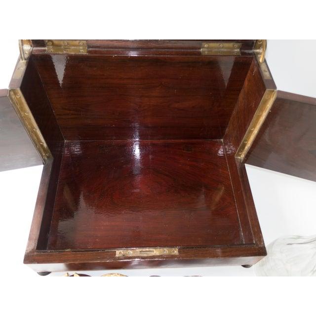 Antique French Tantalus Burlwood Hidden Liquor Cabinet & Glasses - Set of 8 For Sale - Image 5 of 12