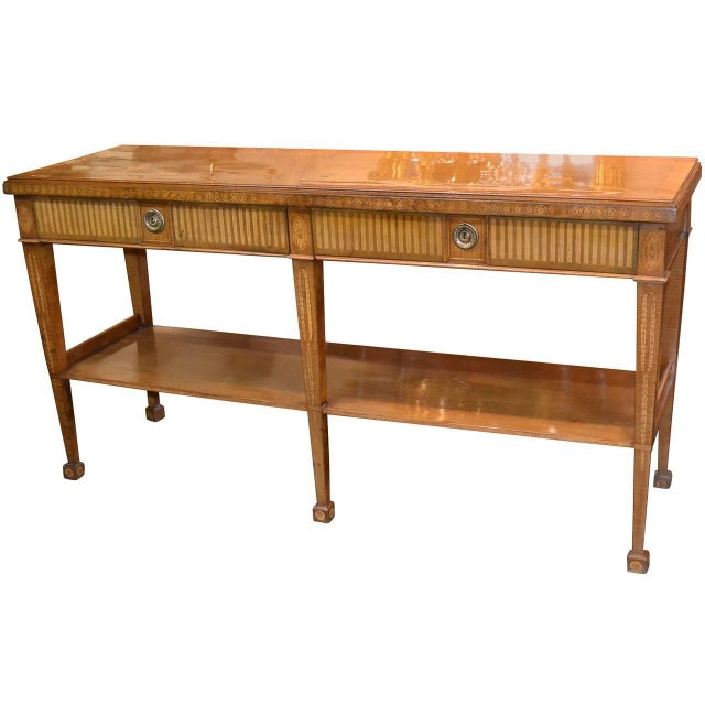Edwardian Marquetry Inlaid Console Table For Sale - Image 9 of 9