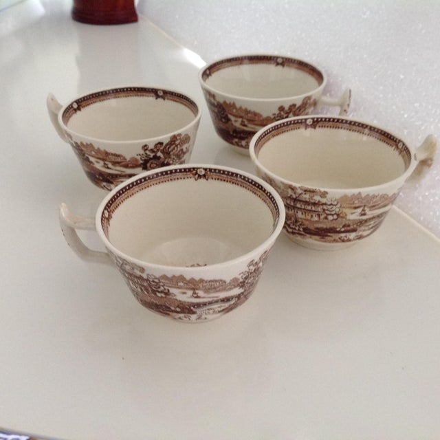 English Traditional Brown and White Staffordshire Coffee Cups - Set of 4 For Sale - Image 3 of 3