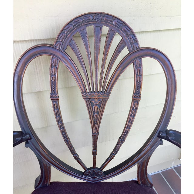 Hepplewhite Heart Back Chairs - a Pair For Sale - Image 4 of 11