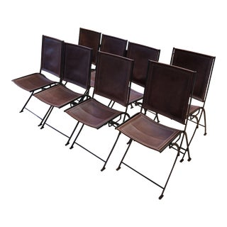 French Mid-Century Iron and Leather Chairs - Set of 8 For Sale
