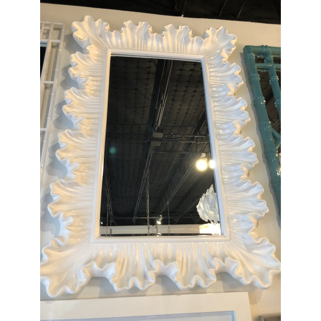 Vintage Hollywood Regency Lacquered White Ruffle Scalloped Wall Mirror For Sale - Image 11 of 12
