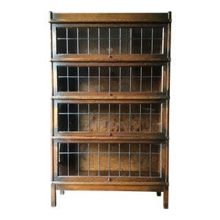 1910s Antique Globe Wernicke Barrister Bookcase With Leaded Glass For Sale