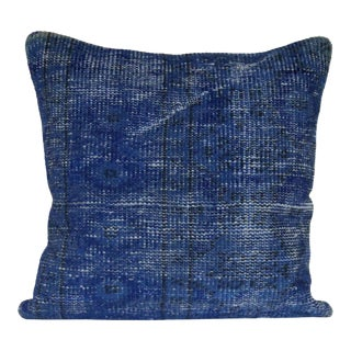 Extra Large Vintage Turkish Solid Blue Hand-Knotted Rug Pillow Case For Sale