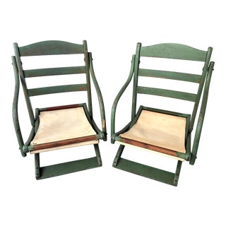 Antique Wooden Folding Chairs - a Pair For Sale