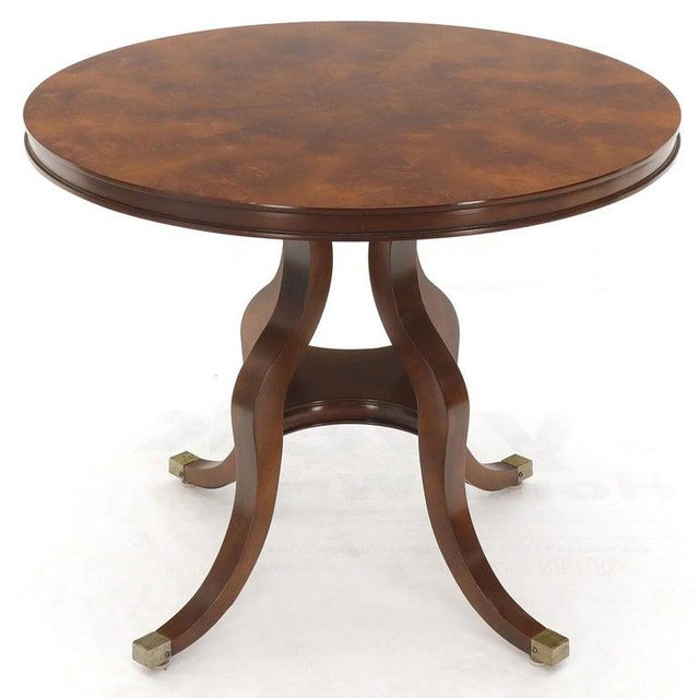 Century Furniture Flame Mahogany Round Top Lamp Table by Century For Sale - Image 4 of 13