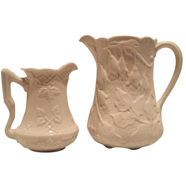 Creme Porcelain Water Pitchers - A Pair - Image 1 of 7
