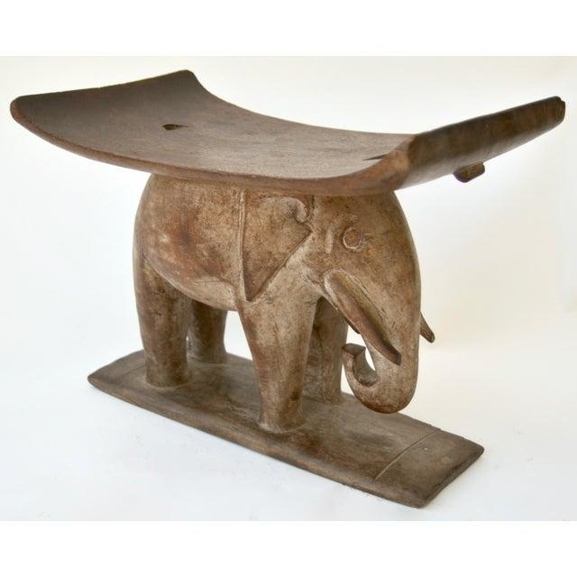 Ashanti African Wood Elephant Stool For Sale - Image 4 of 6