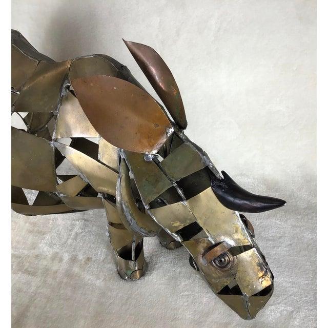 Gold Vintage Mid-Century Brutalist Brass Copper Rhino Freestanding Sculpture For Sale - Image 8 of 11