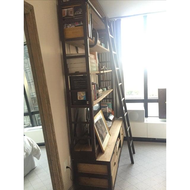 Restoration Hardware Bookcase & Ladder For Sale - Image 5 of 7