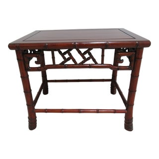 Vintage Chinese Chippendale Rosewood Faux Bamboo Lamp End Table