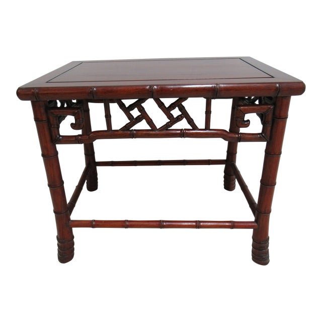 Vintage Chinese Chippendale Rosewood Faux Bamboo Lamp End Table For Sale