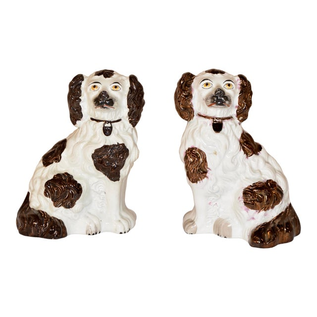 19th C Staffordshire Spaniels - a Pair For Sale