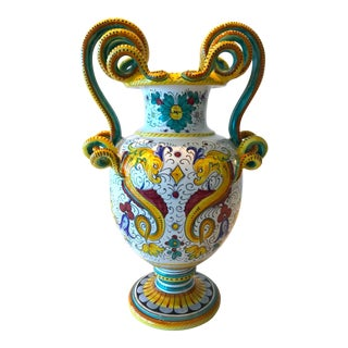 Deruta Hand Painted Majolica Pottery Vase With Serpentines, 1980's For Sale