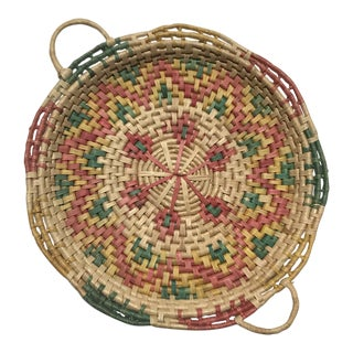 Hand Woven Coiled Basket Tray For Sale