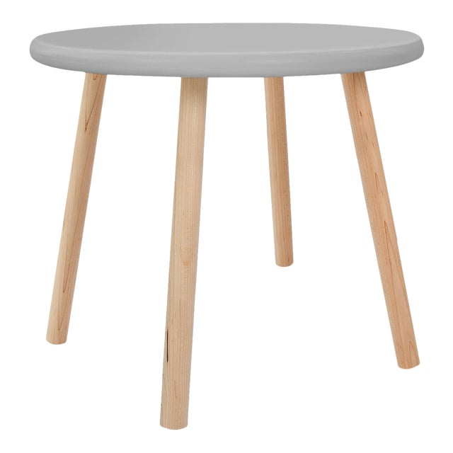 """Peewee Small Round 23.5"""" Kids Table in Maple With Gray Finish Accent For Sale"""