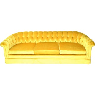Vintage Yellow Tufted Sofa For Sale