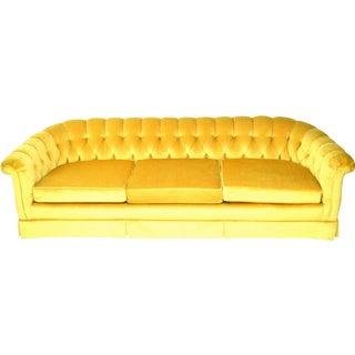 Vintage Yellow Tufted Sofa