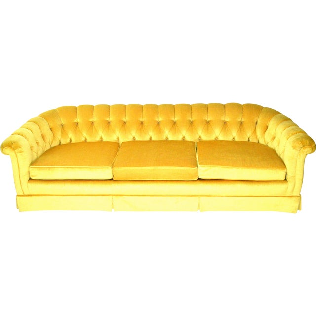 Vintage Yellow Tufted Sofa - Image 1 of 6