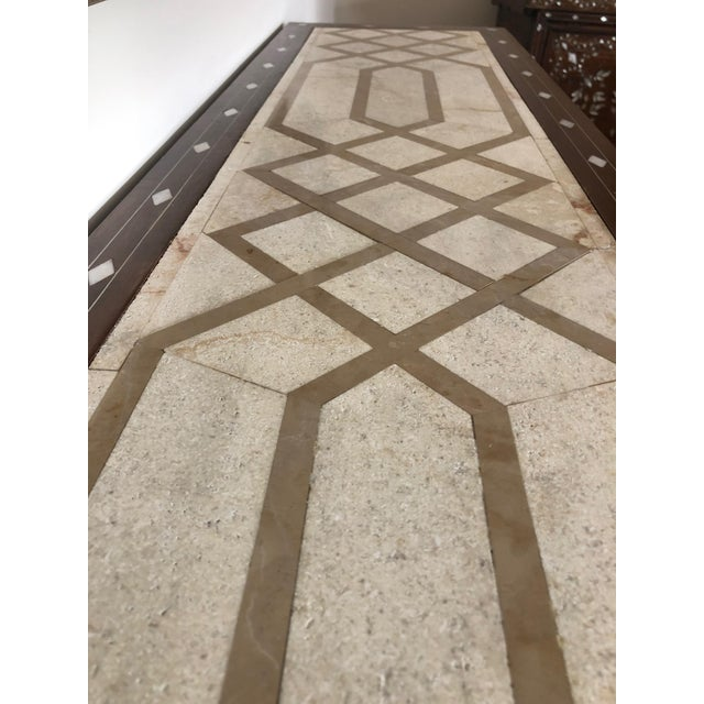 Contemporary Mother of Pearl Inlay Console Table With Marble Top For Sale - Image 10 of 12
