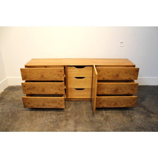 Milo Baughman Style Mid Century Modern Burl Wood Dresser For Lane
