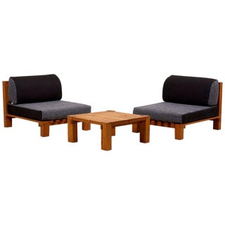 Set of Two Lounge Chairs and Coffee Table Perriand Style, France, 1960s For Sale