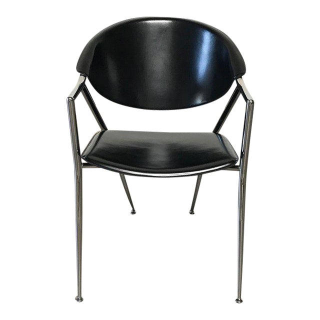 Calligaris Black Leather Chrome Dining Room Chairs Set Of 6 For Sale