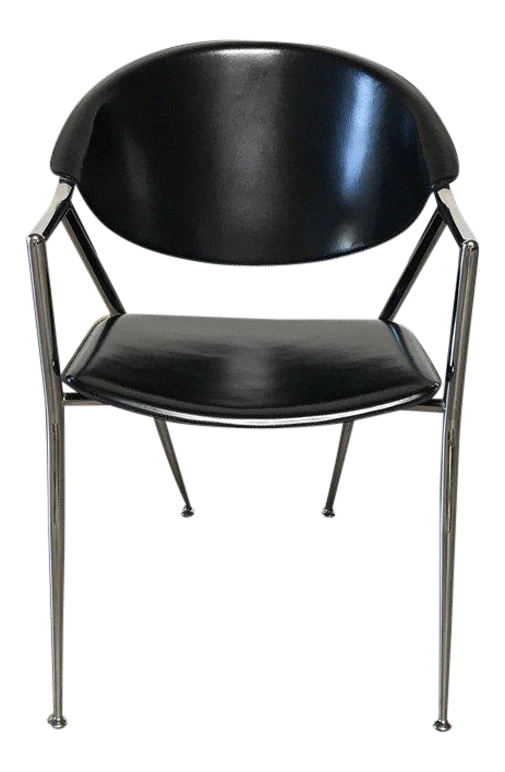 Calligaris Black Leather U0026 Chrome Dining Room Chairs (Set Of 6)   Image 1
