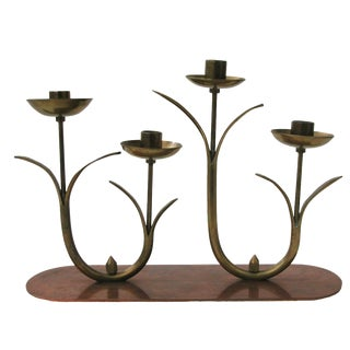 Mid-Century Brass Flower Candleholder For Sale