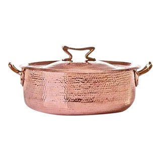 Amoretti Brothers Handmade 7.8 qt Copper Rondeau with Standard Lid For Sale