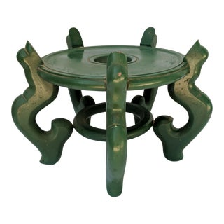 Vintage Green Wooden Asian Planter Stand For Sale