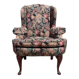 Vintage Queen Anne Upholstered Wingback Chair For Sale